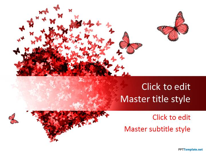 free red heart ppt template, Powerpoint