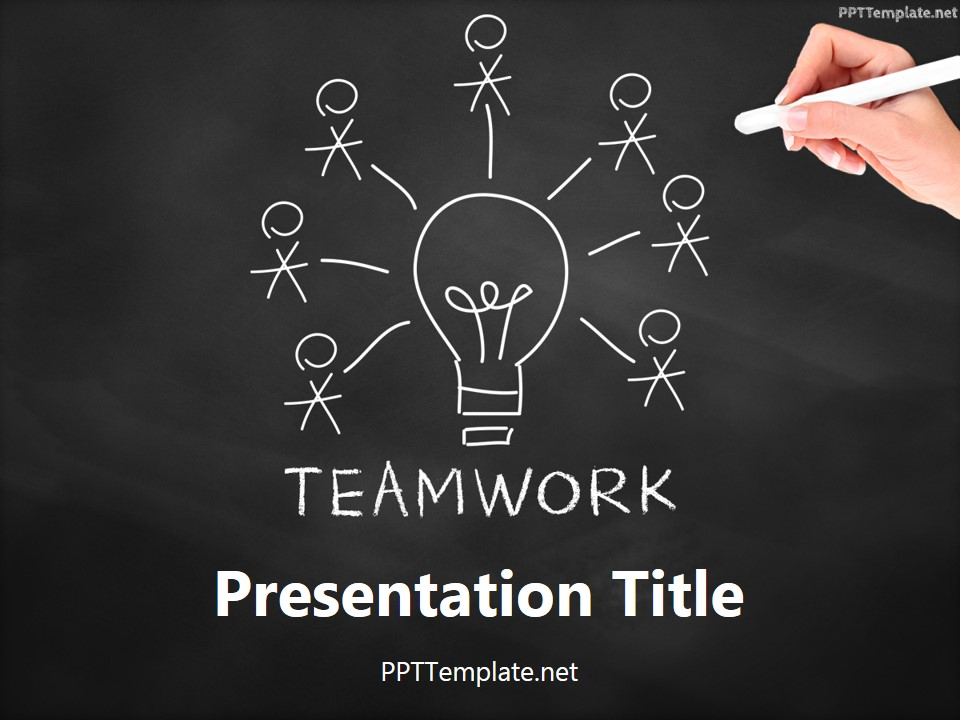 Free teamwork bulb chalk hand ppt template for Chalkboard powerpoint templates free download